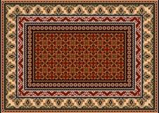 Teppich mit ethnischer Verzierung von beige und grauen Mustern und von bunter Mitte Stockbild