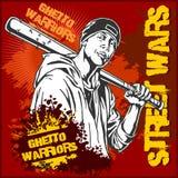Teppista con la mazza da baseball Guerrieri del ghetto Gangster sul fondo sporco dei graffiti illustrazione di stock