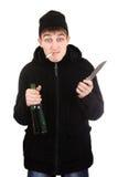 Teppista con un coltello Fotografia Stock Libera da Diritti