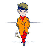 Teppista teenager del fumetto con lo slingshot royalty illustrazione gratis