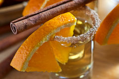 Tequila με το πορτοκάλι και την κανέλα Στοκ φωτογραφία με δικαίωμα ελεύθερης χρήσης