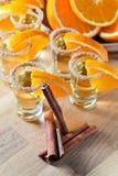 Tequila με το πορτοκάλι και την κανέλα Στοκ Εικόνες