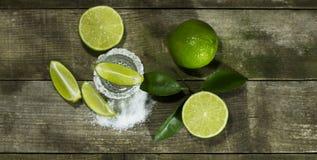 Tequila с известкой и солью Стоковые Изображения RF