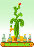 Tequila. Abstract  illustration of tequila production line. It is stereotypically believed that tequila is produced from cactus juice. However, this is a common Stock Photos