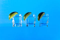 Tequila. Tequila and lime on a glass table Stock Photo