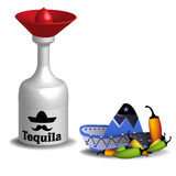 Tequila. Abstract colorful background with tequila bottle, mexican sombrero and more chili peppers  on a white background Stock Photography