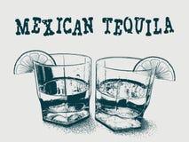 Tequila avec l'illustration tirée par la main de vecteur de chaux Photos libres de droits