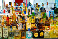 Tequila Bar Alcohol Selection Stock Photo