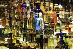 Tequila Bar. A large collection of tequila bottles behind a bar Stock Photo