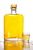 Tequila Bottle And Shot Glass Stock Image