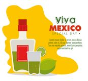 Tequila bottle with lemon to mexico event. Vector illustration vector illustration
