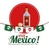 Tequila bottle and shot icon. Mexico culture. Vector graphic. Mexico culture concept represented by tequila over seal stamp icon. Colorfull and flat background stock photography