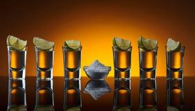 Tequila, cal y sal del oro foto de archivo libre de regalías