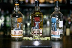 Tequila Cazadores in a bottle. Three different bottles of tequila Cazadores with salt and lime in a bar royalty free stock photos
