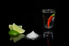 Tequila with chili on black background Royalty Free Stock Image
