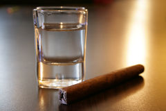 Tequila and a cigar Royalty Free Stock Photo