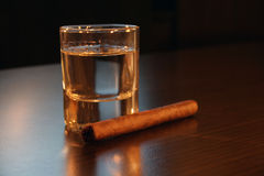 Tequila and a cigar Stock Image