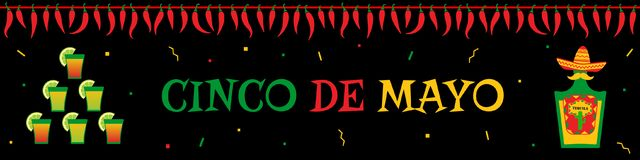 Tequila cocktail and bottle cinco de mayo banner. Traditional festival cinco de mayo web design banner template. Funny tequila bottle and cocktails tower under Stock Images