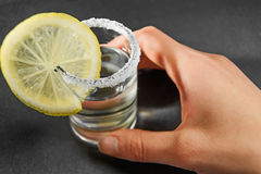 Tequila cocktail with lemon Stock Photography