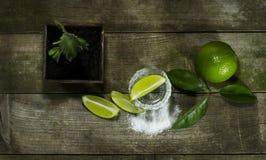 Tequila con calce e sale immagine stock