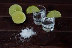 Tequila con la cal y la sal en el tiro Imágenes de archivo libres de regalías