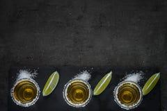 Tequila disparado com cal e sal do mar imagem de stock