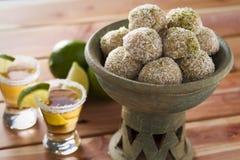 Tequila en kalk op smaak gebrachte truffels Stock Foto