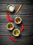 Tequila en Spaanse peper stock afbeelding