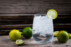 Tequila, GENIÈVRE, vodka dans un verre avec de la glace, chaux, une barre de cocktail images stock