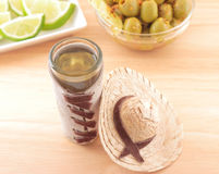 Tequila geschossener mexikanischer Sombrero Lizenzfreies Stockfoto