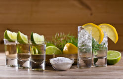 Tequila and gin. Gin with lemon and tequila with lime on the old wooden table stock images