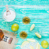 Tequila in glasses and lime fruits Stock Image