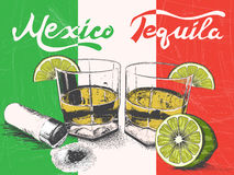 Tequila in glasses on Mexican flag background. Retro style.Vintage poster Stock Image