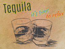 Tequila in glasses on paper background. engraved. Tequila in glasses , engraved style,hand drawing Royalty Free Stock Image
