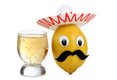 Tequila in glasses on white Royalty Free Stock Photos