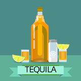 Tequila Gold Bottle Glass With Lemon Lime Salt Alcohol Drink Royalty Free Stock Photos