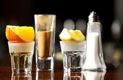 Tequila gold and silver Royalty Free Stock Images