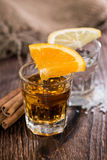Tequila Gold and Silver. With Cinnamon and Salt on wooden background Royalty Free Stock Photography