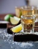 Tequila gouden met kalk en overzees die zout met braambes wordt verfraaid Royalty-vrije Stock Afbeelding