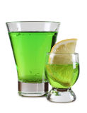 Tequila green cups and lemon Stock Photos