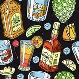 Tequila i whisky pijemy ciekłą bezszwową deseniową wektorową ilustrację Alkohol z przekąskami, butelki Koktajl i ilustracji