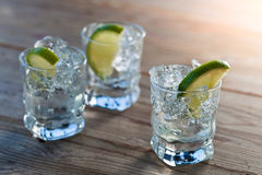 Tequila with ice and lime Royalty Free Stock Photos