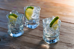 Tequila with ice and lime Stock Image