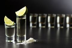 Tequila, Kalk und Salz Lizenzfreie Stockfotografie