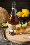 Tequila with a lemon and salt Royalty Free Stock Photo