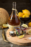 Tequila with a lemon and salt Royalty Free Stock Images
