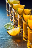 Tequila and lime on glass table Stock Photography