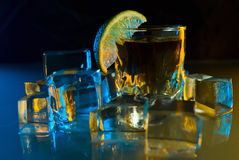 Tequila , lime and ice. Stock Images