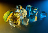 Tequila , lime and ice. Stock Photos