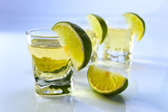 Tequila with lime Stock Photo
